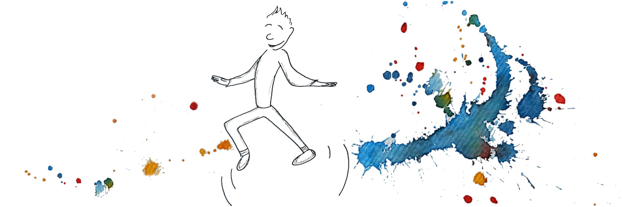 comic figur dancing on colorful watercolor blots - Copyright: Annika Baacke