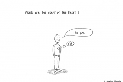 "Comic figure saying ""I like you"" and its heart thinking ""a lot"" - Copyright: Annika Baacke"