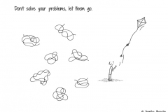 Illustration of different kind of knots and a comic figure letting its kite fly into the sky- Copyright: Annika Baacke