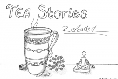 "Comic of a tea cup, above it the title ""TEA Stories Reloaeded, to the left a little comic fiure in tailor seat - Copyright: Annika Baacke"