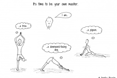 Comic figure in different yoga positions - Copyright: Annika Baacke