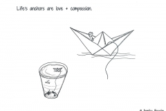 Comic of a paper boat which is in a glass of water - Copyright: Annika Baacke
