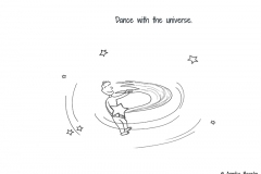 Comic figure which is dancing with a shooting star - Copyright: Annika Baacke