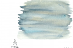 Comic figur in meditation, above it blue watercolor - Copyright: Annika Baacke