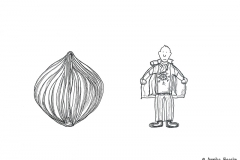 Drawing of an onion and a comic figure wearing layers - Copyright: Annika Baacke