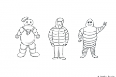 Comic figure with warm winter jacket standing between Marshmallow Man and Michelin Man - Copyright: Annika Baacke
