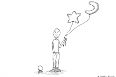 Comic figure wearing warm socks and holding a star and a moon balloon - Copyright: Annika Baacke