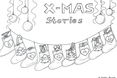 "Drawing of an advent calendar with the title ""X-Mas Stories"" - Copyright: Annika Baacke"