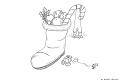 Drawing of a boot filled with candy - Copyright: Annika Baacke