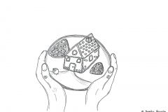 Drawing of a gingerbread house - Copyright: Annika Baacke