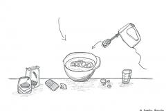 Drawing of ingredients and bowl for a cookie recipe - Copyright: Annika Baacke